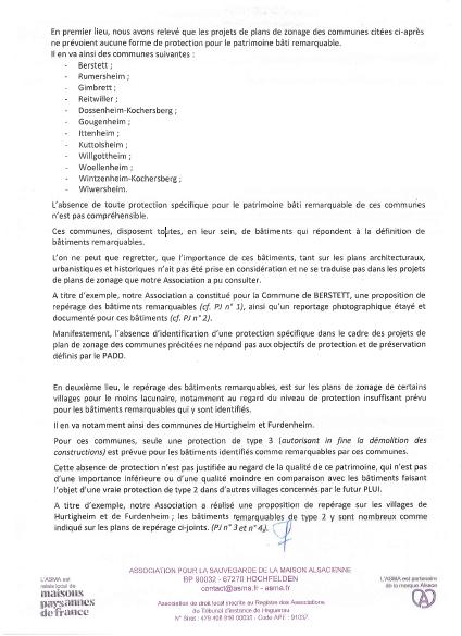 Lettre de l'ASMA du 20/09/2019 à la présidente de la Commission d'enquête sur le PLUI de la CoCoKo